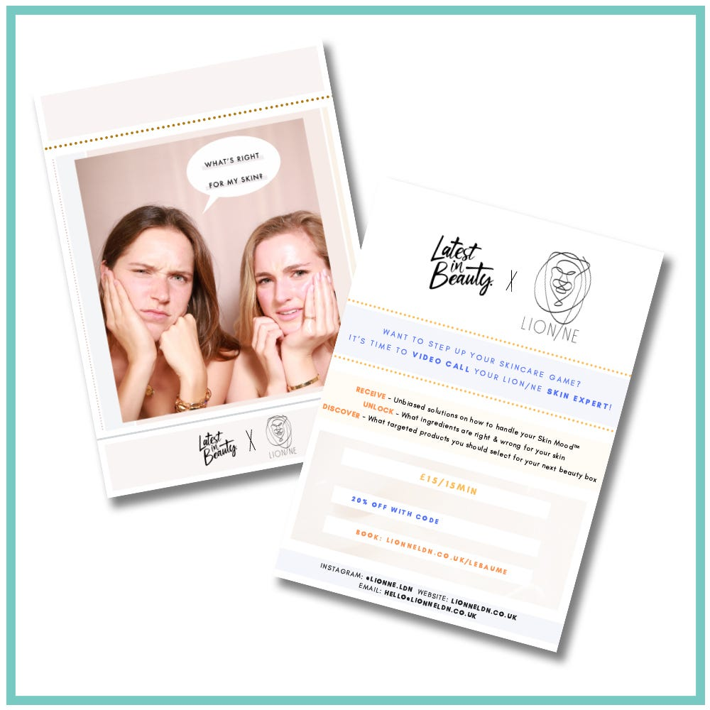 Lion/ne skincare consultation voucher